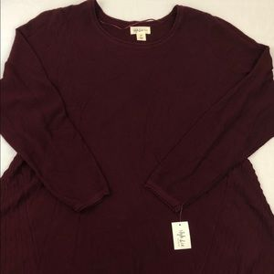Style Co Womens Long Sleeve Scarlet Wine Tunic Top
